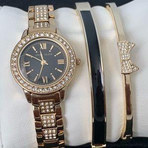 Anne Klein Swarovski & Gold Watch Set